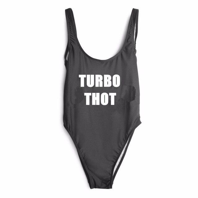 3de976ec61c Turbo Thot Letter Custom SWIMSuit One Piece Swimwear Bathing suit Women  Sexy Bodysuit Funny Swimsuits Jumpsuits Rompers
