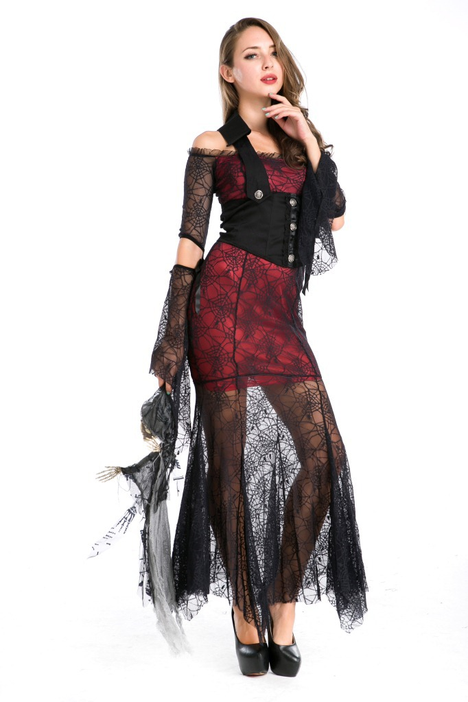 2017 Hot Gothic Style Women Costume Black Spider Lace Long Dress Vampire Cosply In Movie Tv Costumes From Novelty Special Use On
