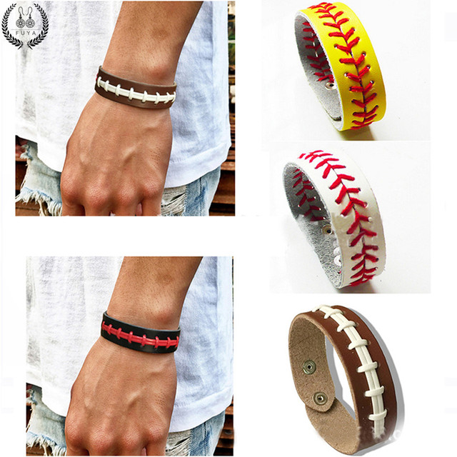 Fashion Baseball Leather Handwoven Sport Bracelet Snap On Wristlet Braces Softball Seamed Lace Cuff Bracelets For
