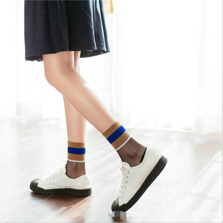 9f5ce8d79e725 2018 new summer fashion socks transparent crystal Japanese glass wool socks  socks color bars Funny Socks