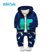 BibiCola 3pcs Autumn Spring Infant Outfits Newborn Baby Clothing Set Baby Boys Casual Hoodie Tops Long