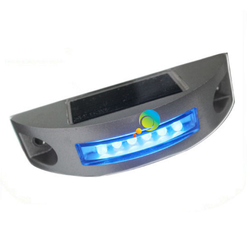 Steady Mode High Quality Road Safety Warning Light Blue LED Aluminum Semi Circle Solar Road Stud