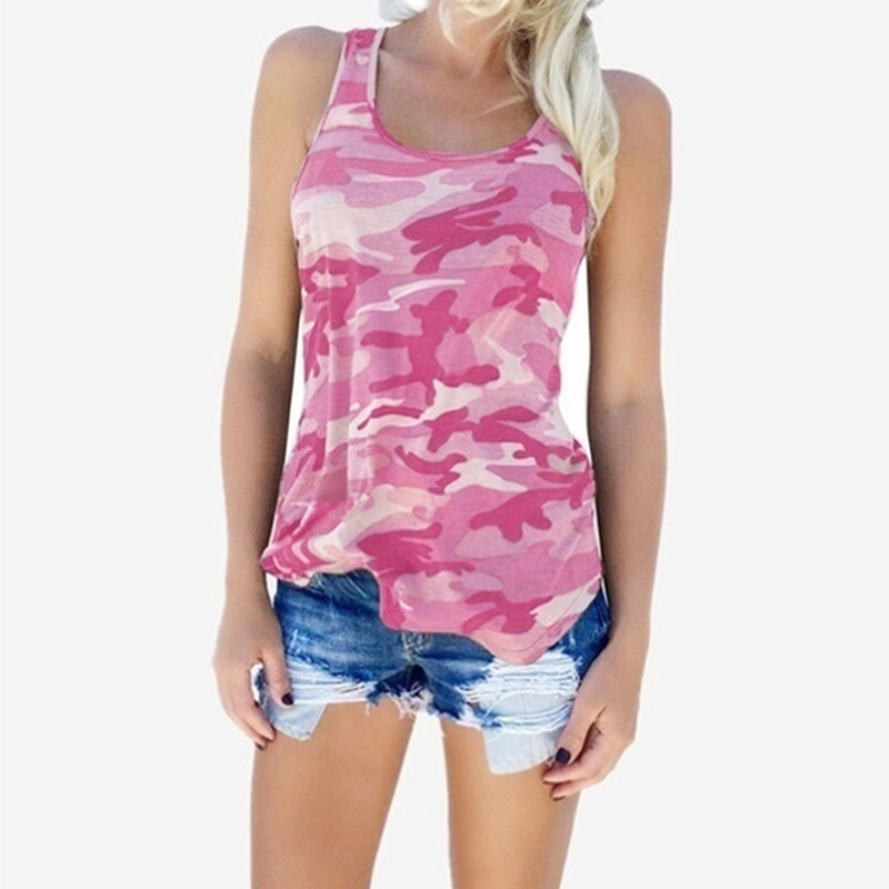 Camouflage Round Neck Sleeveless Female Blouses Fashion Summer Women Tank Tops Streetwear Casual Vest Fitness Clothing