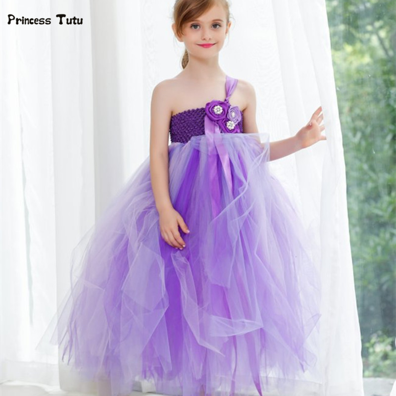 Kids Girls Wedding Dress Purple Flower Girl Dresses Tulle Children Princess Tutu Dress For Party Pageant Festival Prom Vestido cute girls purple long tutus dress kids handmade fluffy tulle princess dress with flower satin bow children party tutus 1pcs