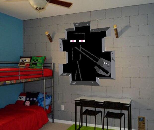3d minecraft stijl muurtattoo poster sticker kamer slaapkamer decor video game 6