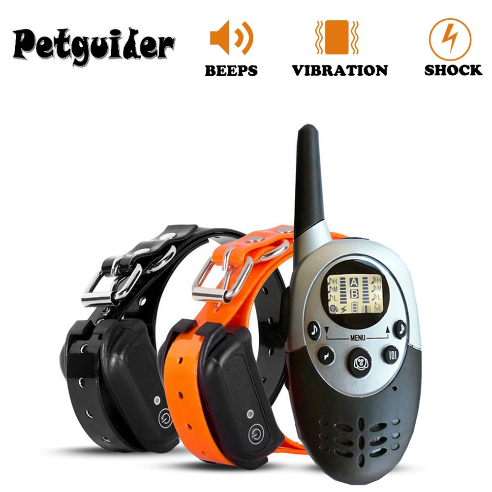 Pet Dog Training Collar Pet Training Collar Dog Trainer Waterproof Rechargeable Remote Vibration Sound Shock Anti bark Two Dogs