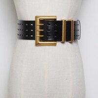 Women Casual Wide Belt Rock Punk Trousers Hipster Waist belt HipHop Jeans Genuine Leather 3 Rows Metal Buckle Belt Accessories