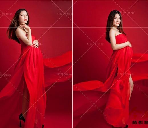 Plus size xxxl Mulheres Vermelhas vestidos de gravidez adereços fotografia Roupas maternidade vestido longo vestido vestidos grávidas do chuveiro de bebê