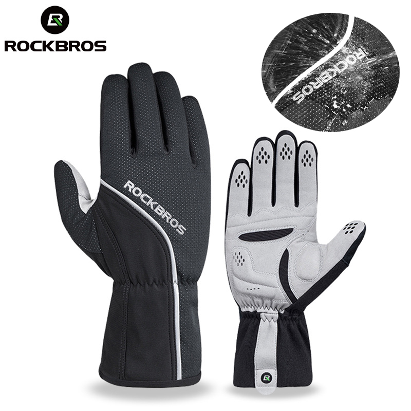 ROCKBROS Thermal Fleece Skiing Gloves Full Finger Windproof Snowboard Glove Anti-slip Pad Warmer Bicycle Motor Mount Hiking Wear rabbit style cashmere style three finger capacitive screen touching hand warmer gloves beige