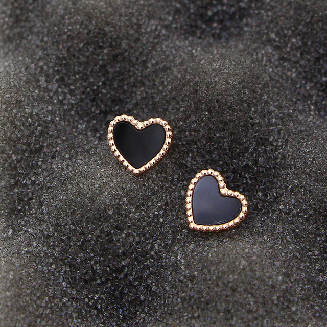 Wholes Double Faced Heart Stud Earrings Fashion For Women Jewelry Black White Blue