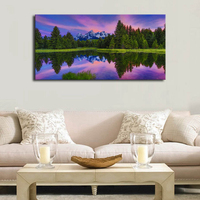 Canvas Wall Art Sunset Nature Picture Artwork Long Contemporary Tree Forest Lakeside Snow Mountain for Office Room Wall Decor