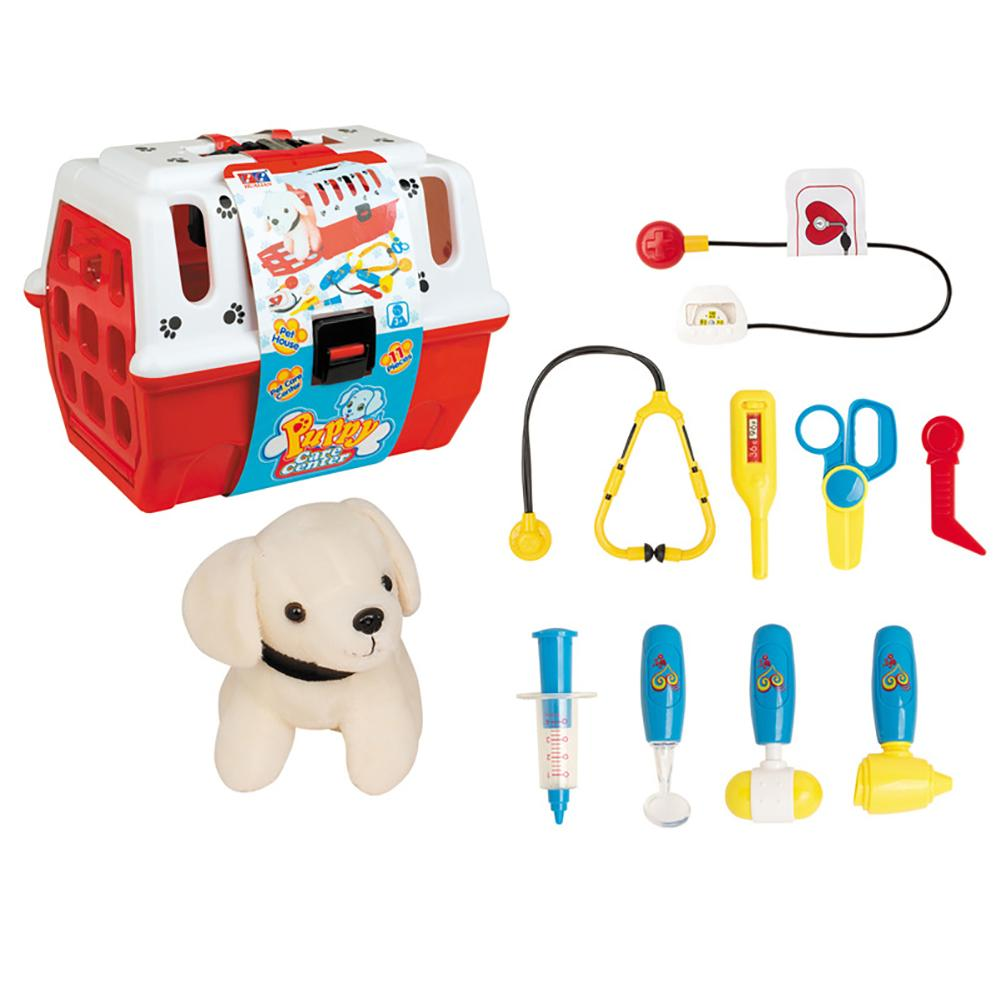 Kids Colourful Veterinarian Play Pretend Set With Plush Dog Care Accessories Toy