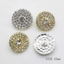 ZMASEY – tige de boutons en strass de 25mm, 5 pièces/lot, décoration de mariage, ruban, fourniture de cheveux, Invitation complète, accessoires de bricolage, nouvelle collection