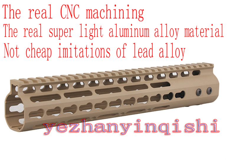 Real CNC lightweight aluminum alloy 11 inch TAN handguard rail system One-piece for AR-15/M4/M16 - Free shipping new lightweight cnc aluminum anodes m lok 9 inch handguard rail one picatinny rails system bk tan