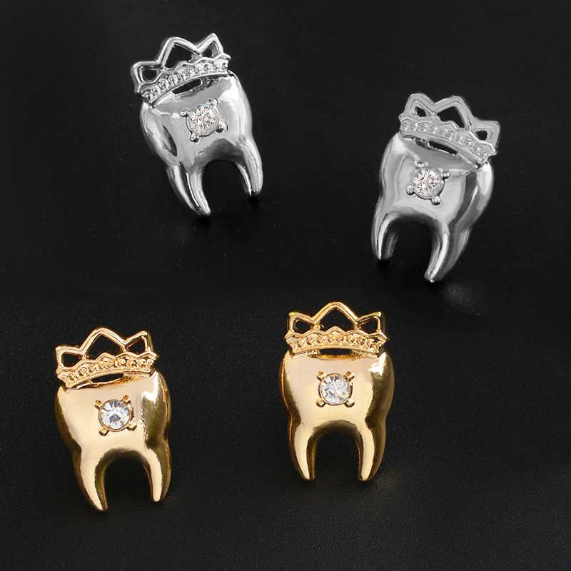 gran venta e0b18 91bf4 Corona del diente pendientes Rhinestones oro plata aleación corona dientes  pendientes joyería dentista Doctor enfermera regalos de Graduación