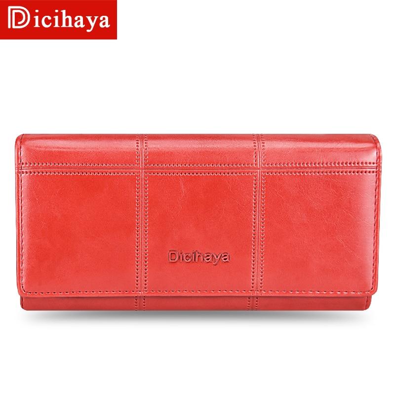 DICIHAYA Leather Women Wallet Plaid Long Design Ladies Hasp Wallets Female Clutch Bags Buckles Multi Function