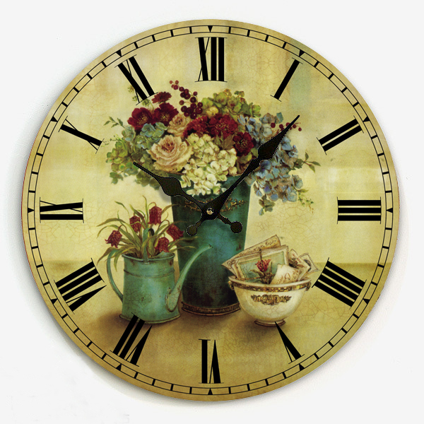 Free Shipping Antique Country Frameless Design 34cm Kitchen Retro Interior Wooden Wall Clock Roman Numeral Face Hour On The Wall Decorative Tiles Kitchen Kitchen Art Wall Decordecorative Kitchen Wall Clocks Aliexpress