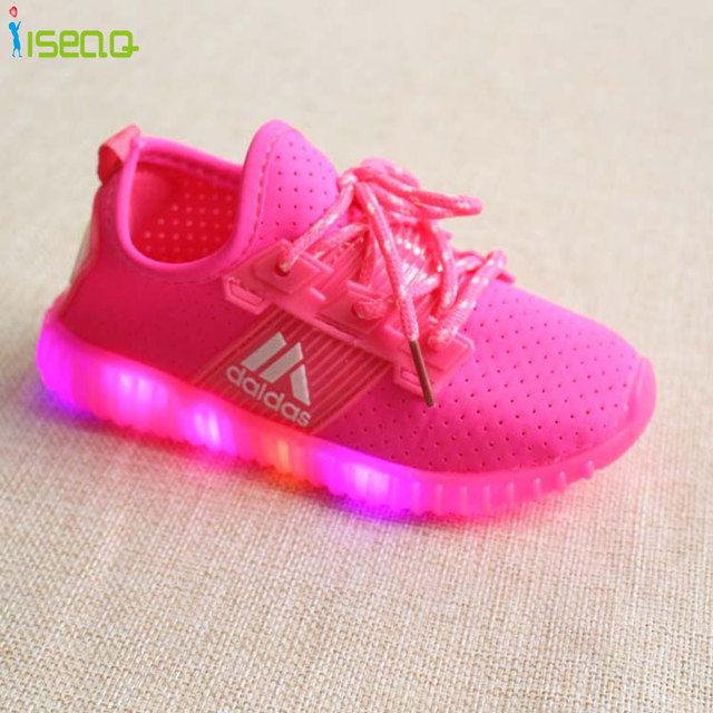 Venda quente crianças meninas led luminoso sapatilhas crianças esportes shoes menina PU Botas Casuais para a Primavera Outono Botão De Borracha EUR 21-36