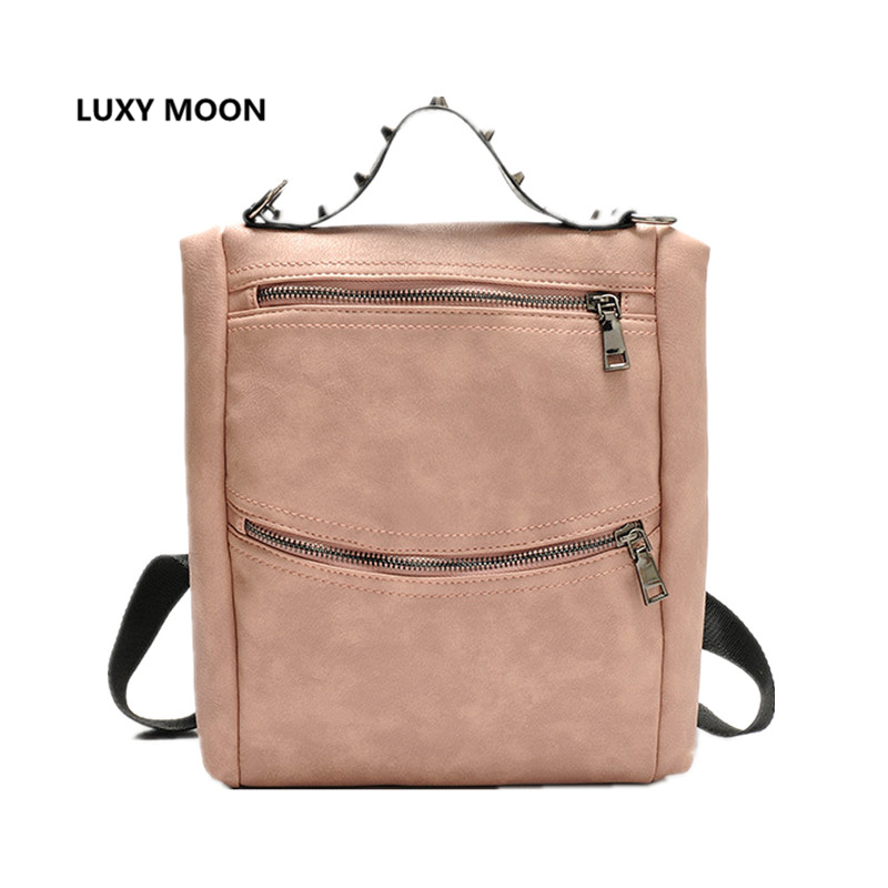 Simple Solid Rivet Backpacks Women Soft PU Leather Backpacks for Teenage Girls School Bags Fashion Vintage Travel Rucksack A57 retro rivet backpacks 2017 hip hop pu leather men s backpacks vintage punk skull women teenage backpacks bolsas mochilas
