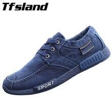 Men Soft Denim Cloth Canvas Shoes Men's Solid Comfortable Leisure Shoes Male Lace up Walking Shoes Homme Sneakers Dropshipping