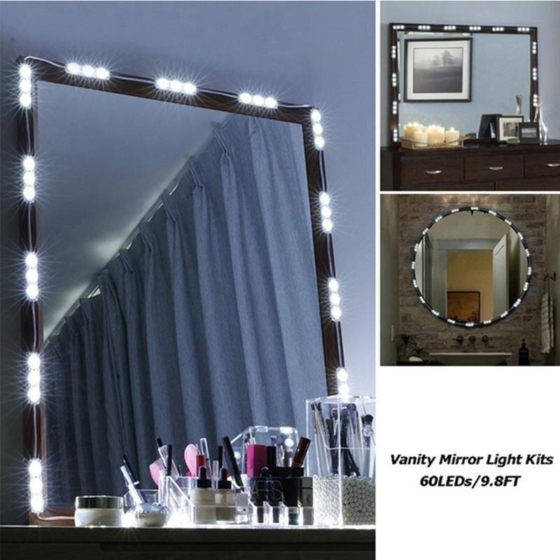 Hollywood Make-Up Spiegel Licht Kit 10FT 60 LED Abgerundete Dimmbare Eitelkeit Spiegel Licht Eitelkeit mit Fernbedienung für Ostern Geschenk
