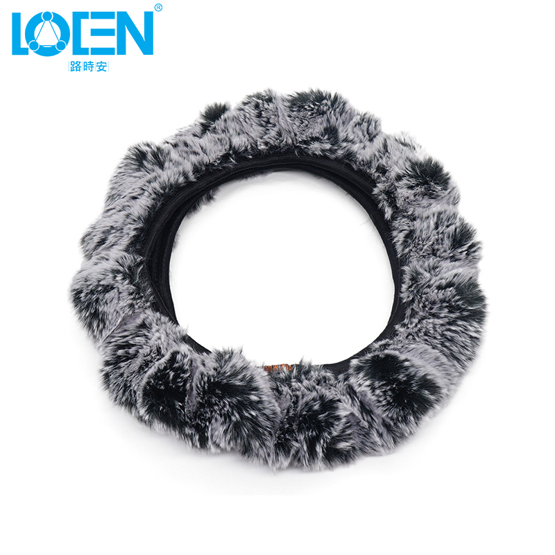 LOEN Steering Covers Steering Wheel Cove Car-Styling Universal Winter Warm Steering Wheel Cover Warm Long Wool Plush Steering