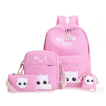 Cute Cat Printing Backpack School Bags For Teenagers Girls Backpacks Sholder School Bag 4pcs/Set Rucksack mochila infantil
