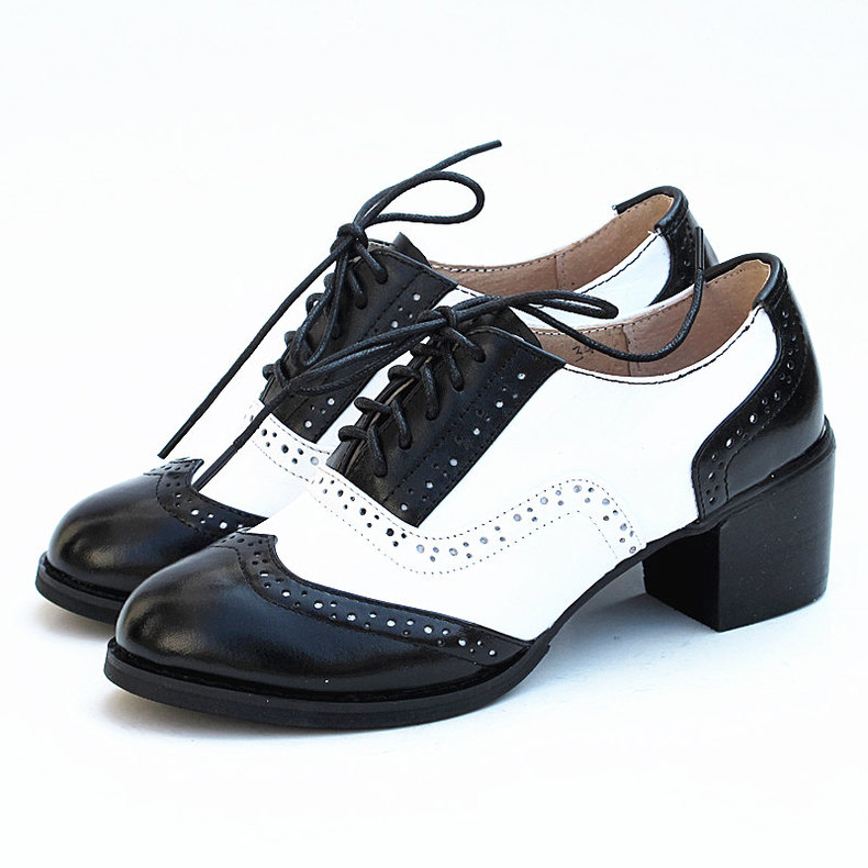 de9c2b18e0 Womens Shoes Brock Genuine Leather Carved Thick With Leather Shoes Black  White Brogue Oxfords Shoes For Women Student Shoes