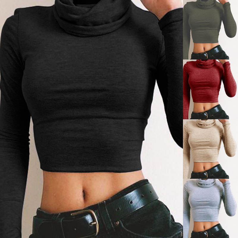 Sexy Women Turtleneck Long Sleeve Crop Short Top Slim Fit T-shirt Pullover Cropped Tops H9