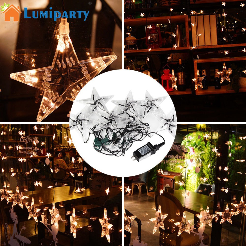 LumiParty 60LED Stars Curtain String Light Fairy Lamp Night Light for Wedding Christmas Party Decoration jk35 christmas decoration 6 3m droop 600 led curtain string lights icicle 220v for new year garden christmas led light curtain