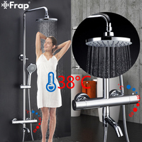 Frap Shower System Thermostatic Bathroom Mixer Set Bath Shower Waterfall Rain Shower Head Set Faucet Tap Bathtub