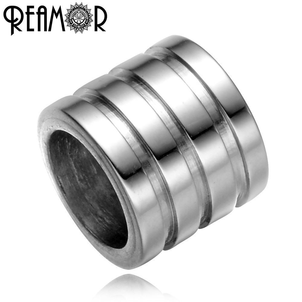 REAMOR Casting 316l Stainless Steel Round Stripe European Multi-ring Big Holes Spacer Beads Charms For Bracelet Jewelry Making