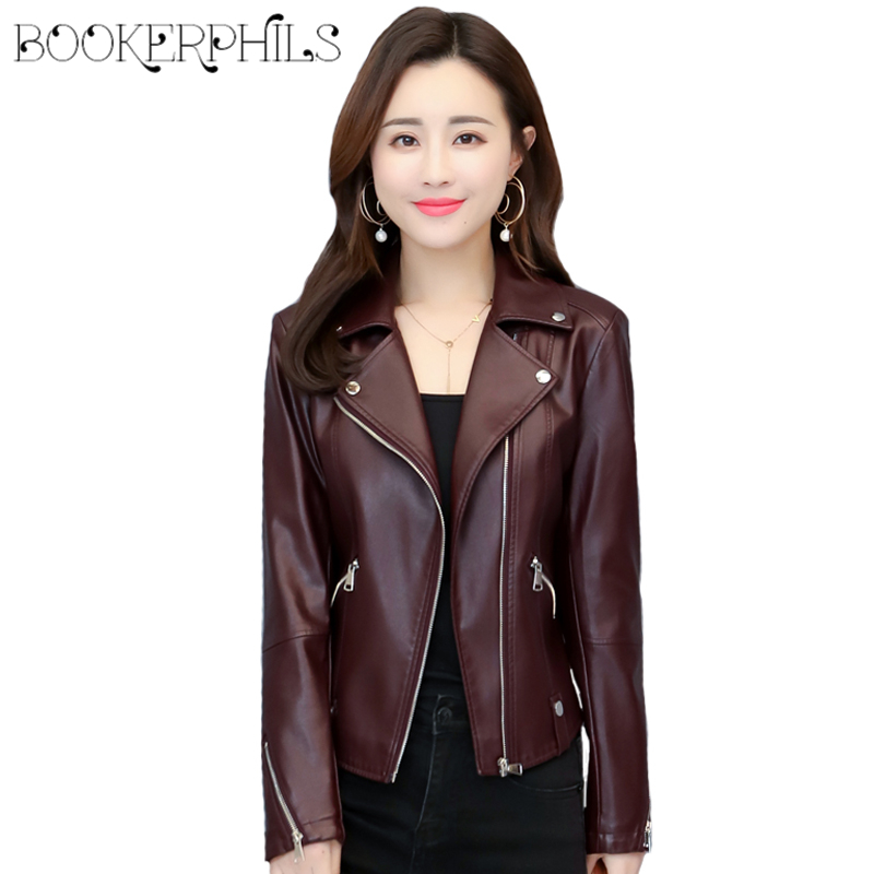 2019 Spring PU   Leather   Jacket Women Plus Size 5XL Fashion Zipper Turn-down Collar Female Motorcycle Jacket Soft PU   Leather   Coat