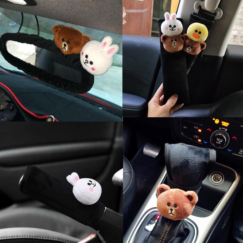 Cute-Cartoon-Bear-Car-Interior-Accessories-Plush-Universal-Steering-Wheel-Cover-Seat-Belt-Cover-Rearview-mirror (4)