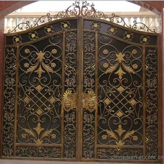 Continental Iron Gate Park Entrance Garden And Courtyard Decorative Door  Double Door Remote Control Security