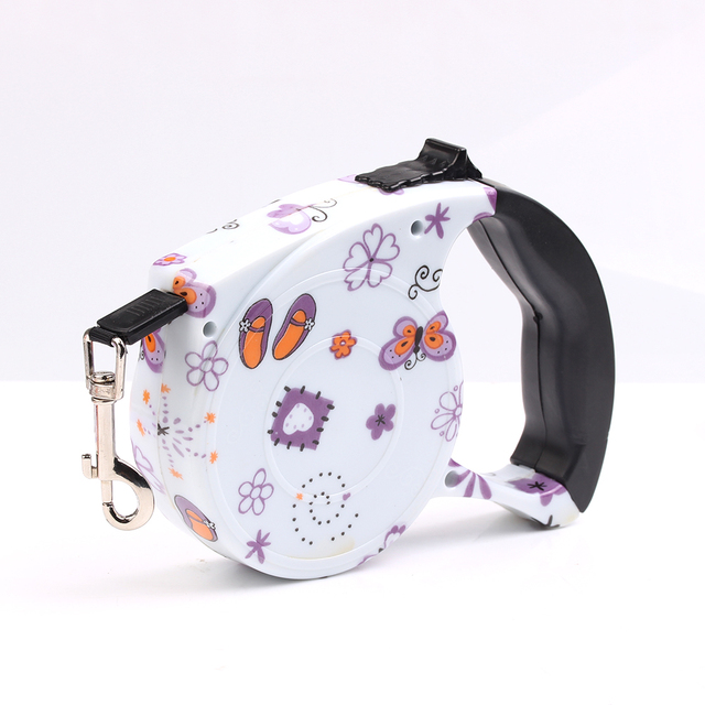2017 New 5 meters automatic retractable dog leash pet collar harness nylon belt multicolor pattern for dogs Pet Product