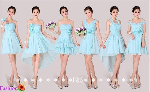 Short Sky Blue Bridesmaid Dress One Shoulder Halter Sea Blue Summer ...