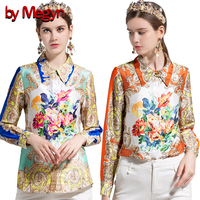 by Megyn shirts blouses women 2018 long sleeve shirts plus size women summer blouse floral print fashion womens tops and blouses