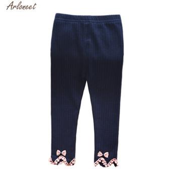 ARLONEET ubrania dla dzieci dziewczyny piękne string Stripe spodnie legginsy spodnie dziewczyny Ruched dzianina bawełniana rozciągliwe ciepłe leginsy tanie i dobre opinie COTTON Poliester Luźne Unisex Łuk Pełnej długości Pasuje prawda na wymiar weź swój normalny rozmiar Sznurek Stałe