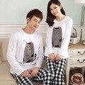 Primavera Outono 2016 NOVOS Das Mulheres Dos Homens de 100% Algodão conjuntos de pijama Treino padrão Gato Dos Desenhos Animados Sleepwear Pijama ternos XXL
