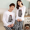 Spring Autumn 2016 NEW 100% Cotton Men Women pajama sets Tracksuit Cartoon Cat pattern Sleepwear Pyjama suits XXL