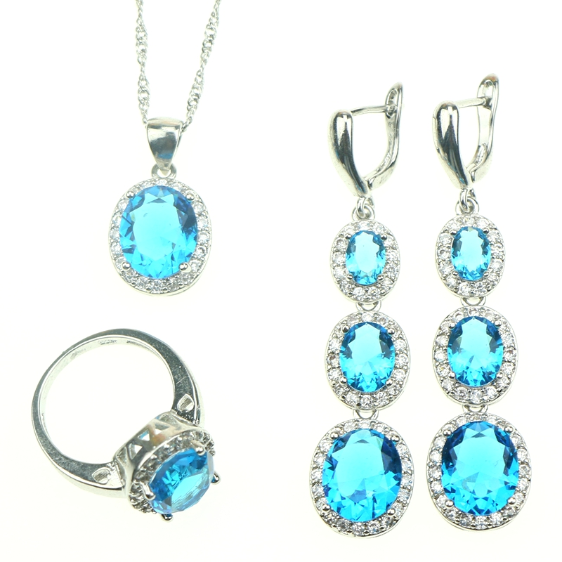 Superb Oval Sky Blue Crystal Cubic Zirconia Jewelery 925 Sterling Silver Jewelry Sets For Women Necklace/Pendant/Earrings/Ring