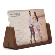 Walnut Wood Base with Acrylic Panels Creative Solid Wood & Plexiglass Photo Frames WP014-1(China)