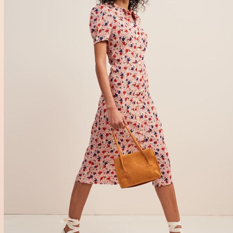 Women Dress 2019 Spring Summer turn down collar Vintage Waist Lapel Pink Print Midi Dress