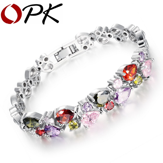 OPK Mona Lisa Multi Color Cubic Zirconia Woman Bracelets Heart Design Gold Color /Silver Color Charm Link Chain Jewelry 950
