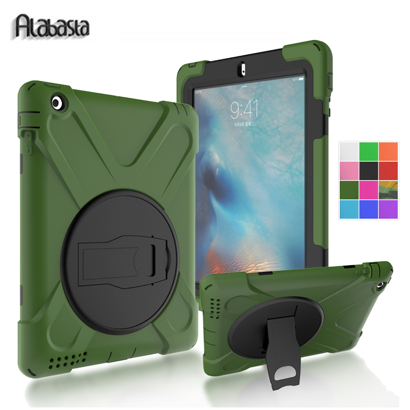 Alabasta Case for iPad 2 3 4 Case Cover Heavy Duty Hard Tablet 360 Degree Rotation Pc + Silicone Stand Shell Shockproof Stand