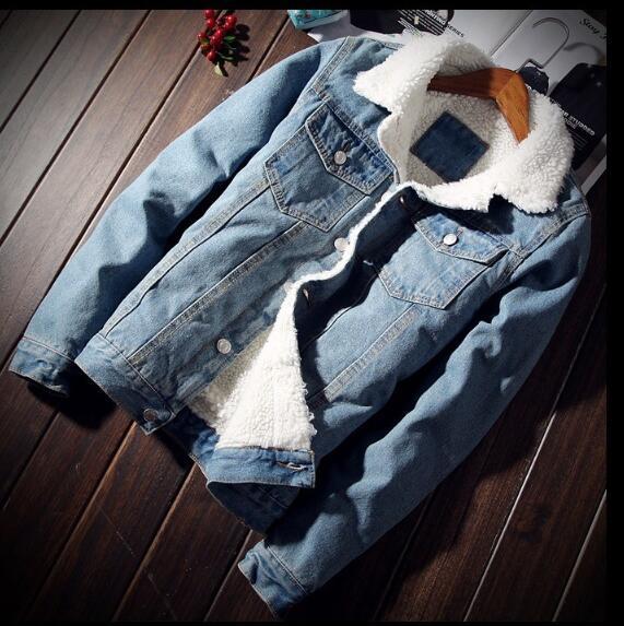 HTB1PlL4fYvpK1RjSZFqq6AXUVXa6 Men Jacket and Coat Trendy Warm Fleece Denim Jacket 2018 Winter Fashion Mens Jean Jacket Outwear Male Cowboy