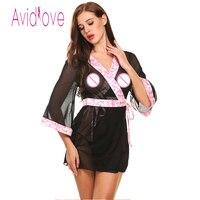Avidlove Marchio di Lingerie Robe Dress Flare Maniche 3/4 Sheer Mesh Patchwork Indumenti Da Notte Erotica Lace Up Da Notte Plus Size