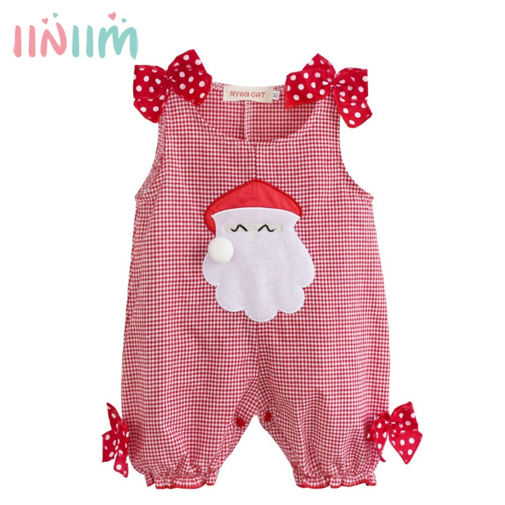 Cute Infantil Newborn Baby Girls Summer Christmas Party Costumes Santa Claus Plaid Romper Clothes Toddler Boys Girls Clothing sr039 newborn baby clothes bebe baby girls and boys clothes christmas red and white party dress hat santa claus hat sliders