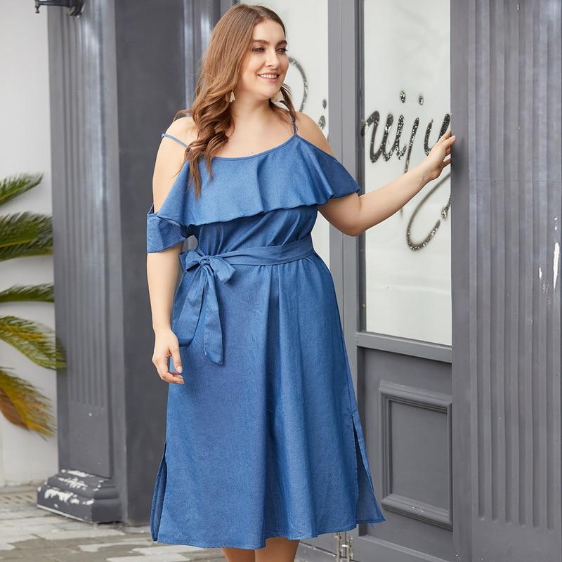 2019 NEW Original Design Ruffled Off-The-Shoulder Tie With Waist Split Fork Large Size Women's Sling Denim Dress